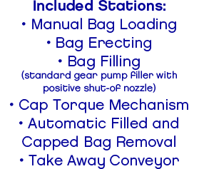 Included Stations:• Manual Bag Loading• Bag Erecting• Bag Filling(standard gear pump filler withpositive shut-of nozzle)• Cap Torque Mechanism• Automatic Filled andCapped Bag Removal• Take Away Conveyor